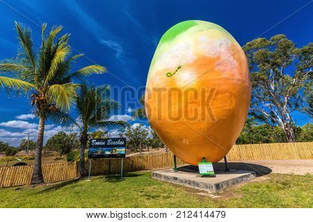 BOWEN, AUS - SEPT 18 2017: Bowen's famous attraction Big Mango located at Visitor Information Center. Queensland, Australia.