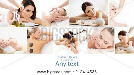 Set with young and beautiful girls relaxing in spa. Woman in massaging salon. Traditional oriental therapy and massaging treatments. Health, care and medicine concept.