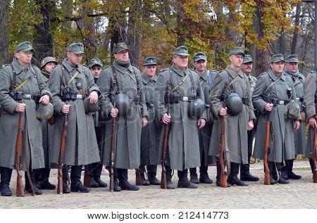 Liberation of Kiev from nazis reenactment.An unidentified persons wear historical German uniform . At October 5,2017 in Kiev, Ukraine