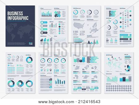 Infographic brochure elements for business data visualization. Vector illustration in modern flat info graphic style.