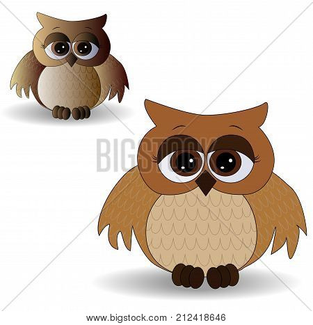 Two Sad Owls With Surprised Eyes And Splayed Wings, With A Pattern On The Sternum And Wings