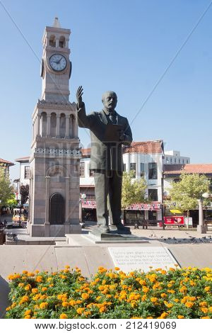 ANKARA, TURKEY - AUGUST 20, 2017: The statue of Mehmet Akif Ersoy in Hamamonu District of Ankara - Hamamonu is the host of Home of the Mehmet Akif Ersoy and the tourist magnet in Ankara