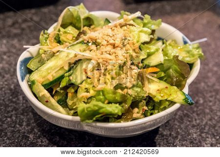 Fresh mix green salad  in bowl