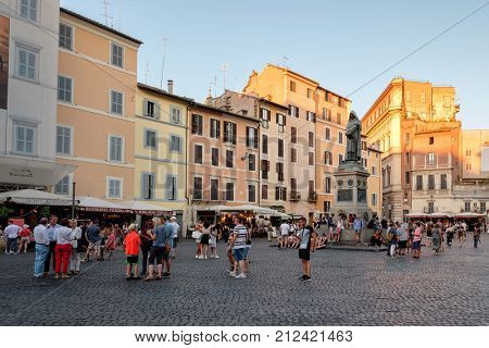 ROME,ITALY - JULY 16,2017 : Campo dei Fiori at sunset, a historic square in central Rome with the monument to Giordano Bruno