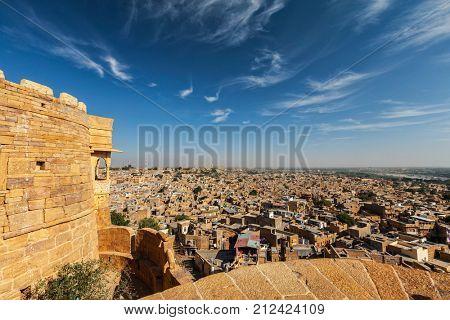 View of Jaisalmer city from Jaisalmer fort. Jaisalmer, Rajasthan, India