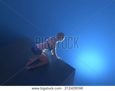 woman on the edge of abyss, 3d illustration