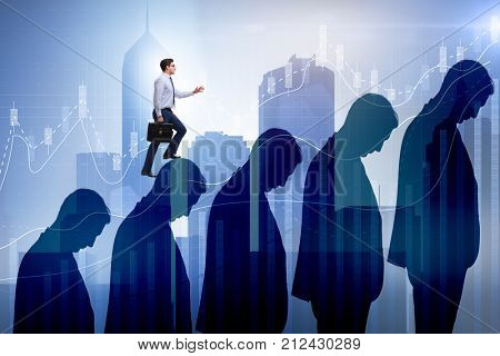 Business people climbing career ladder in business concept