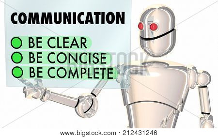 Communication Clear Concise Complete Robot Choices 3d Illustration