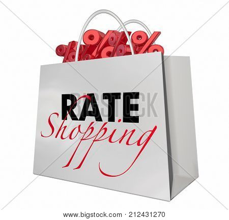 Rate Shopping Bag Interest Lowest Percentage Signs 3d Illustration
