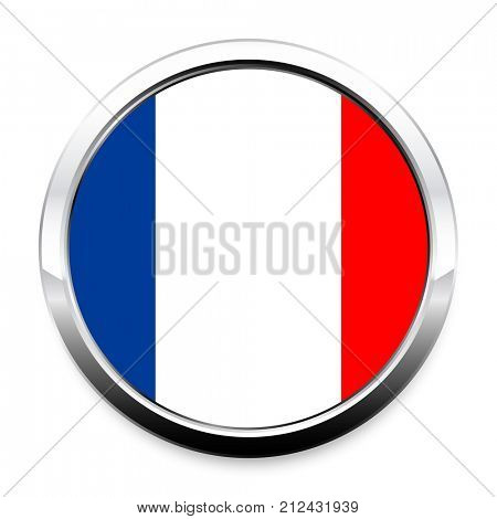 Button Flag of France in a round metal chrome frame with a shadow. The symbol of Independence Day, a souvenir, a button for switching the language on the site, an icon.