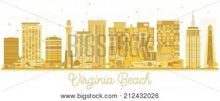 Virginia Beach City skyline golden silhouette. Business travel concept. Virginia Beach Cityscape with landmarks.