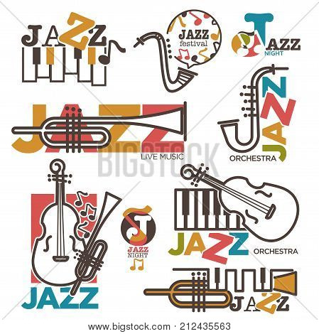 Jazz night or live music festival concert logo templates of musical instruments. Vector outline icons of jazz sax or saxophone, guitar and piano key stave with music notes