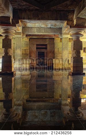 Underground temple, flooded with water. Hampi, Karnataka, India