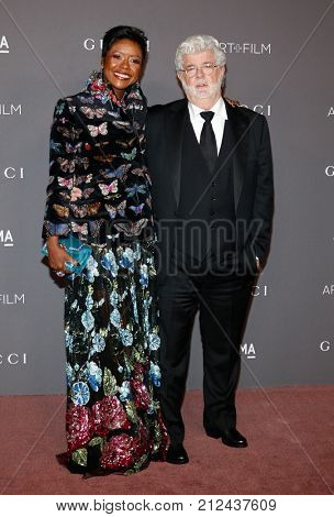 George Lucas and Mellody Hobson at the 2017 LACMA Art + Film Gala Honoring Mark Bradford And George Lucas held at the LACMA in Los Angeles, USA on November 4, 2017.