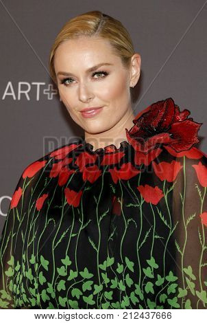 Lindsey Vonn at the 2017 LACMA Art + Film Gala Honoring Mark Bradford And George Lucas held at the LACMA in Los Angeles, USA on November 4, 2017.