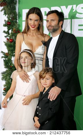 Jamie Mazur, Alessandra Ambrosio, Noah Ambrosio Mazur and Anja Ambrosio Mazur at the Los Angeles premiere of 'Daddy's Home 2' held at the Regency Village Theatre in Westwood, USA on November 5, 2017.