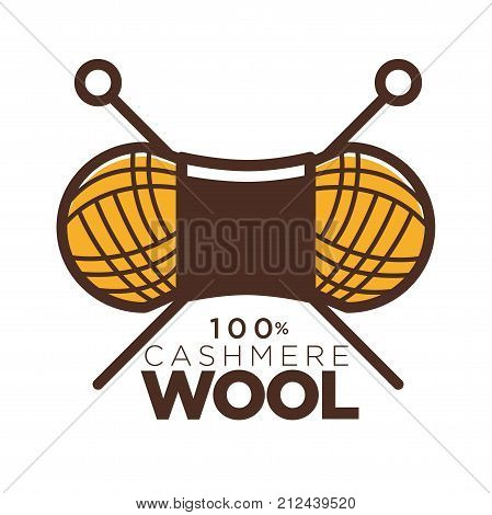 Wool clew label or 100 percent natural cashmere logo for knitwear or knitted clothing tag. Vector isolated icon of wool yarn with crossed knitting needles for pure natural merino sheep textile