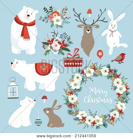 Set of cute Christmas clip-arts with bunnies, reindeer, polar bears, winter flowers, Christmas wreath and balls, scandinavian design. Isolated hand drawn vector objects.