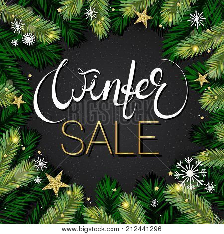 Winter sale background. Holiday composition with tree brabches, gold foil snowflakes