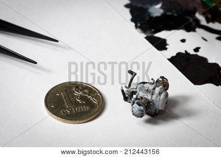Plastic Model Of Motorcycle Engine Painted By Hand.