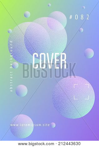 Holographic fluid with radial circles and halftone dots texture. Geometric shapes on gradient background. Modern template for poster, cover, banner, brochure. Minimal holographic fluid in neon colors