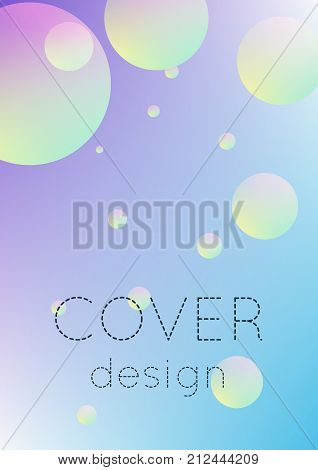 Cover fluid with round shapes. Gradient circles on holographic background. Modern hipster template for placards, banners, flyers, report, brochure. Minimal cover fluid in vibrant neon colors.