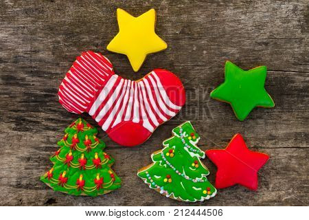 Festive Tasty Christmas Cookies On Wooden Table. Top View