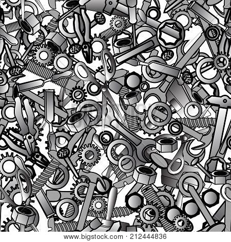 Cute and interesting seamless pattern with hand drawn hammer, nuts, nippers, pliers, spanner, gears, and bolts. Hand tool background, for hardware stores, wallpapers, textile. Vector illustration
