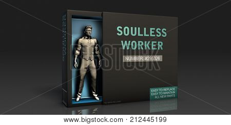 Soulless Worker Employment Problem and Workplace Issues 3D Render