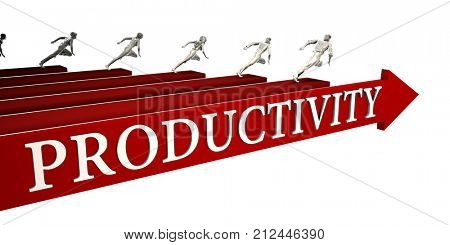 Productivity Solutions with Business People Running To Success 3d Render