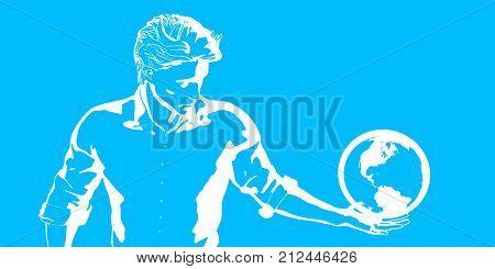 Man Staring At Globe Simple Drawing Clip Art