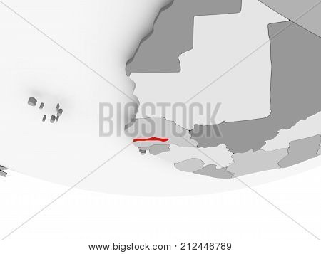Map Of Gambia On Grey Political Globe