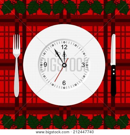 Christmas dinner. New Year. Chimes. Cutlery Flat design Vector illustration