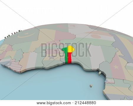 Political Map Of Benin On Globe With Flag