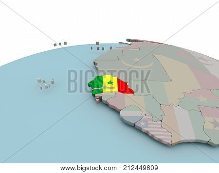Political Map Of Senegal On Globe With Flag