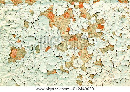 Peeling paint texture background. Texture peeling paint on the old rough concrete texture surface. Old concrete texture background with peeling paint. Texture background with grunge peeling paint