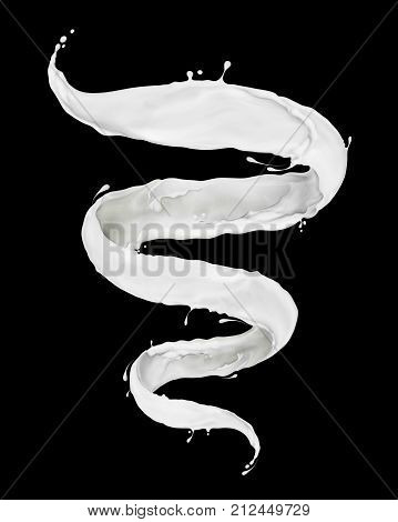 Milk splashes in the form of a spiral on black background