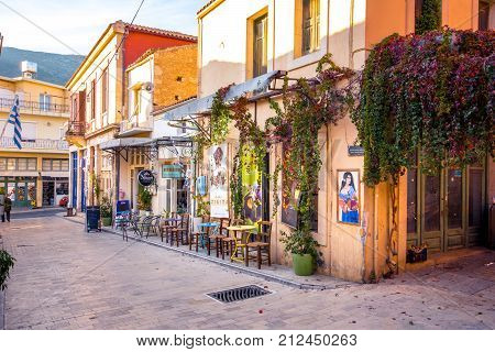 Traditional houses and old buildings at the village of Archanes, Heraklion, Crete, Greece on November 8, 2017.