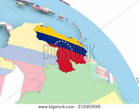 Flag Of Venezuela On Globe
