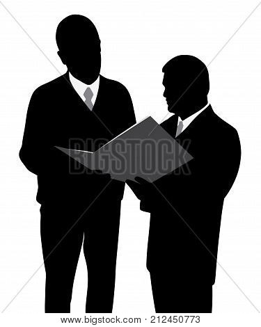 Two businessmen engineers or architects looking at a new project plan