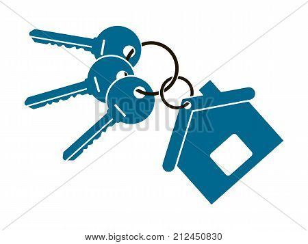 three keys from the apartment with a keychain in the form of a house isolated