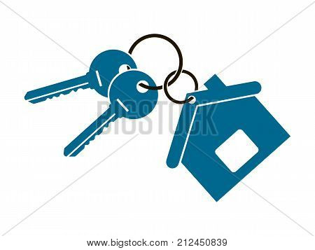 two keys from the apartment with a keychain in the form of a house isolated