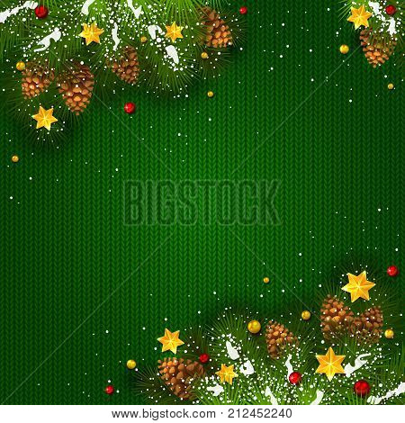Lettering Merry Christmas and Happy New Year with holiday decorations on green knitted background. Decorative spruce branches with snow, pine cones, golden Christmas stars and beads, illustration.