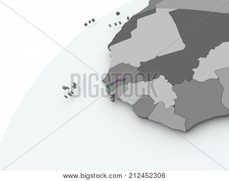 Flag Of Gambia On Grey Globe