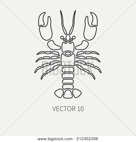 Line flat plain vector ocean fauna icon - lobster. Simplified retro. Cartoon style. Cancer. Omar. Seafood delicacy. Shell. Claw. Sea. Crustacean. Illustration, element for your design and wallpaper