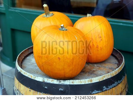 ripened yellow pumpkins on a wooden barrel