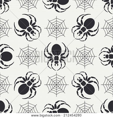 Flat monochrome vector seamless wildlife fauna pattern with black widow spider. Helloween. Cartoon style. Insect. Web. Entomology. Art. Nature. Predator. Illustration element for your design wallpaper