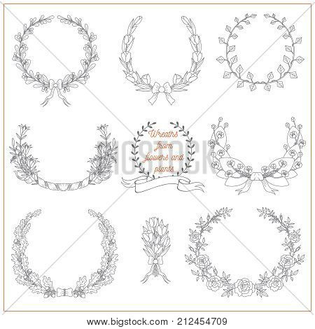 Set of decorative elegant wreaths from flowers and plants such as rose lily tulip spatter-dock oak ivy on white background. Can be used for invitations or greeting cards.