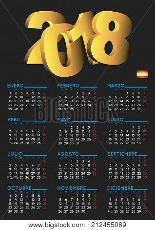 Spanish Calendar 2018 Vertical