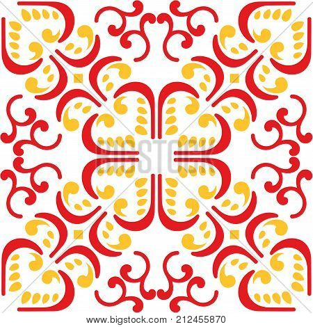 Vector of Moroccan tile red yellow Seamless Pattern for Design Background Banner. Spanish element for Wallpaper Ceramic or Textile tiles. Middle Ages Ornament Texture Template